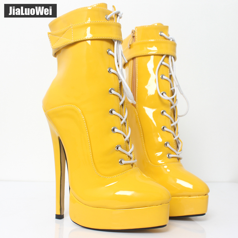 "Jialuowei สตรีข้อเท้า 7 ""ส้นสูงแพลตฟอร์มรองเท้ารอบ toe สิทธิบัตรหนัง Lace   up ผู้หญิง party เครื่องรางรองเท้า-ใน รองเท้าบูทหุ้มข้อ จาก รองเท้า บน   1"