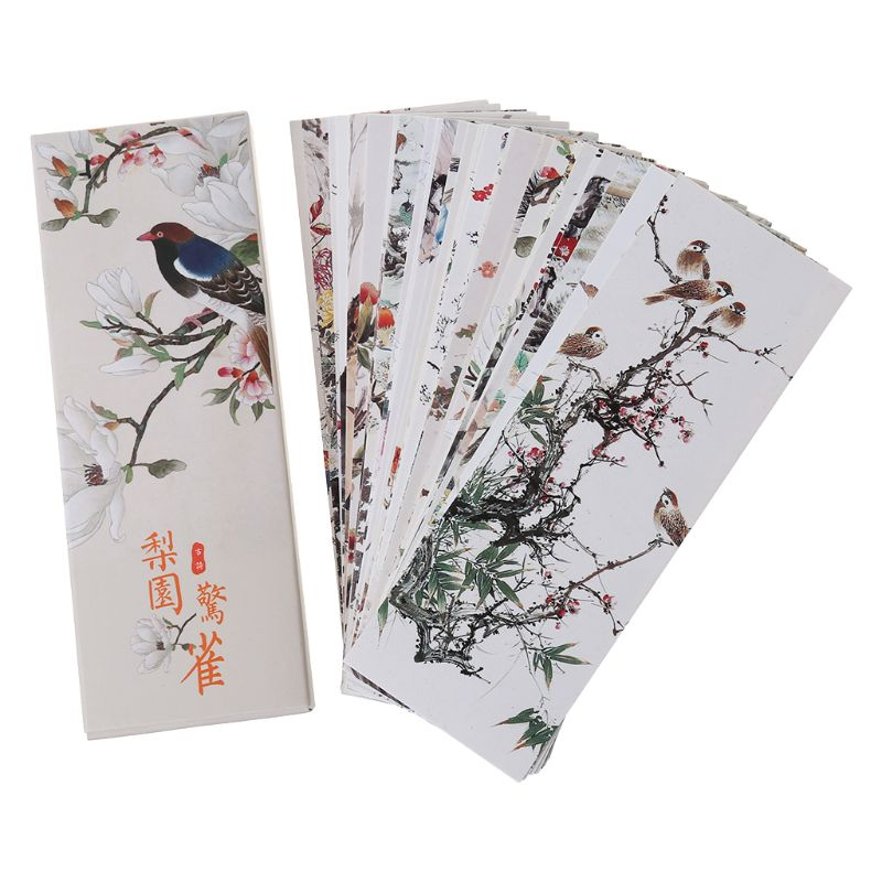 30pcs Flowers Birds Bookmarks Paper Page Notes Label Message Card Book Marker School Supplies Stationery