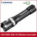 CREE XM-L T6 Led de la Linterna de 3800 Lúmenes Llevó la Antorcha de Zoomable Impermeable Linterna Táctica lanterna para 1x18650 Camping Senderismo