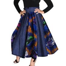 e00e09e93e2710 2018 Vrouwen Afrikaanse Kleding Bazin Riche Hoge Taille Rokken Dashiki  Afrikaanse Print Cowboy Patchwork Tutu Rokken