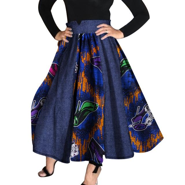 2018 Women African Clothing Bazin Riche High Waist Skirts Dashiki African Print Cowboy Patchwork Tutu Skirts Clothes WY959