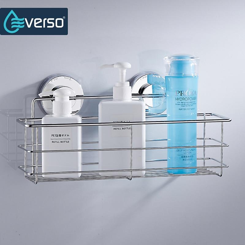 Stainless steel shelves suction bathroom shelf shower bath shelves storage organizer bathroom for Stainless steel bathroom shower shelves
