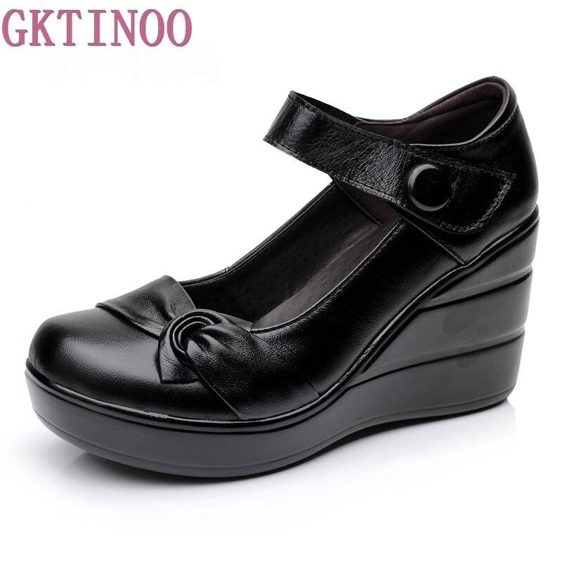 2018 весна-осень натуральная кожа женские модные Обувь на высоком каблуке туфли-лодочки на танкетке черный цвет Женская обувь на платформе