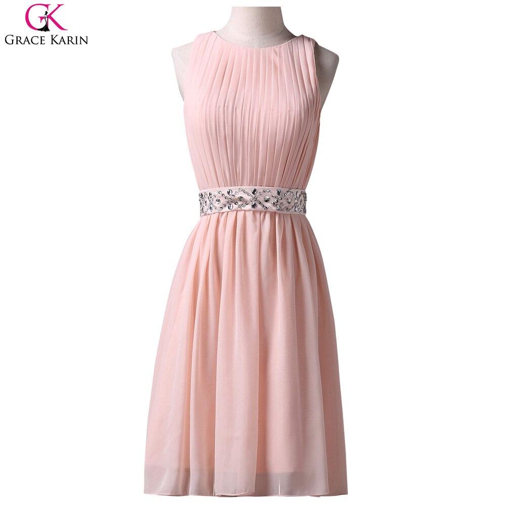 Grace karin vestido corto de baile rosa de gasa de encaje sin mangas ...