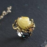 Серебряный инкрустированные пчелиный воск кольцо S925 серебрение процесс Для женщин модные аксессуары розового