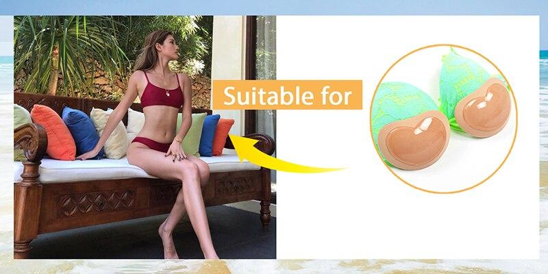 Bikini Push Up Padded Swimsuit Bikini Small Bust Thicker Breathable Sponge Bra Pad Invisible Paste Padding Dropship