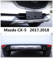 Araba tampon plaka Mazda CX-5 CX5 2017.2018 TAMPON KORUMA için Yüksek Kaliteli Paslanmaz Çelik Ön + Arka Oto Aksesuarları