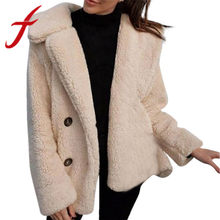 Feitong Winter Warme Frauen Casual Plüsch Jacke Mantel Solide Damen Dicke Kurze Jacke Outwear Outercoat casaco feminino 2019 Neue(China)