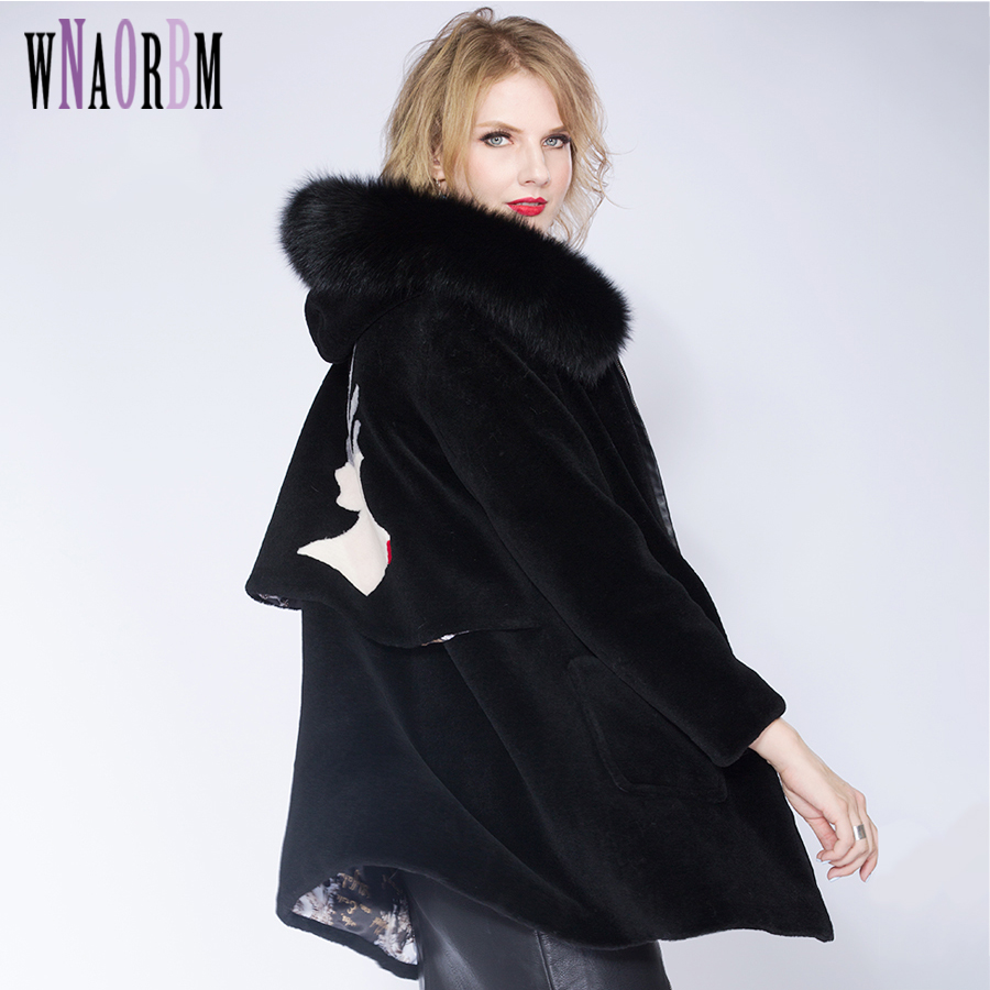 WNAORBM Sheep Sheared Fur Coat Fashion Women Sheep Skin Fox Fur Hat Collar Little Fawn Pattern Coat Zipper Leisure Coat