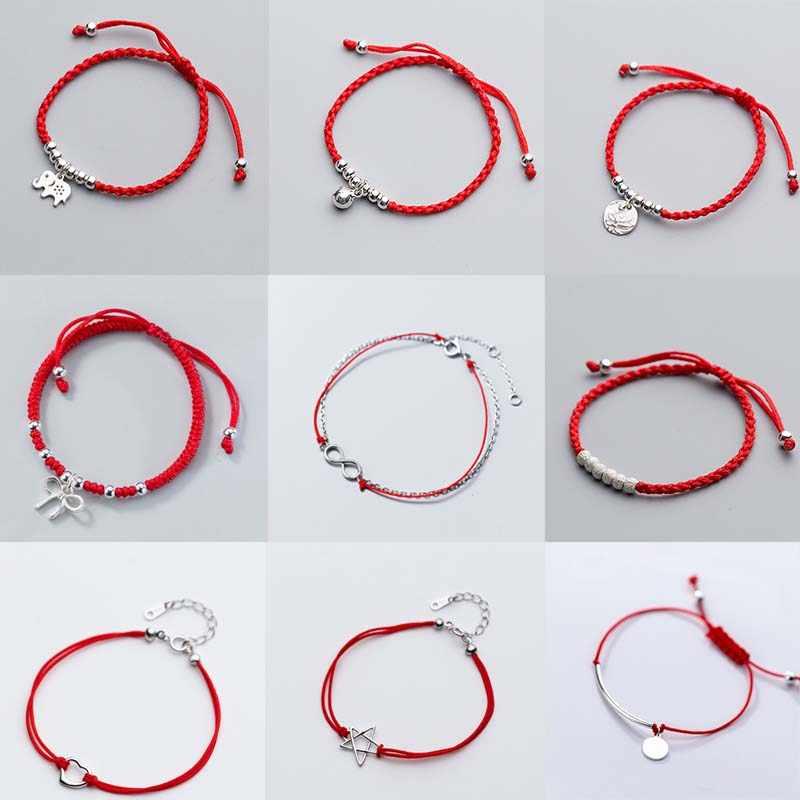Red String Thread Charm Bracelet Beads