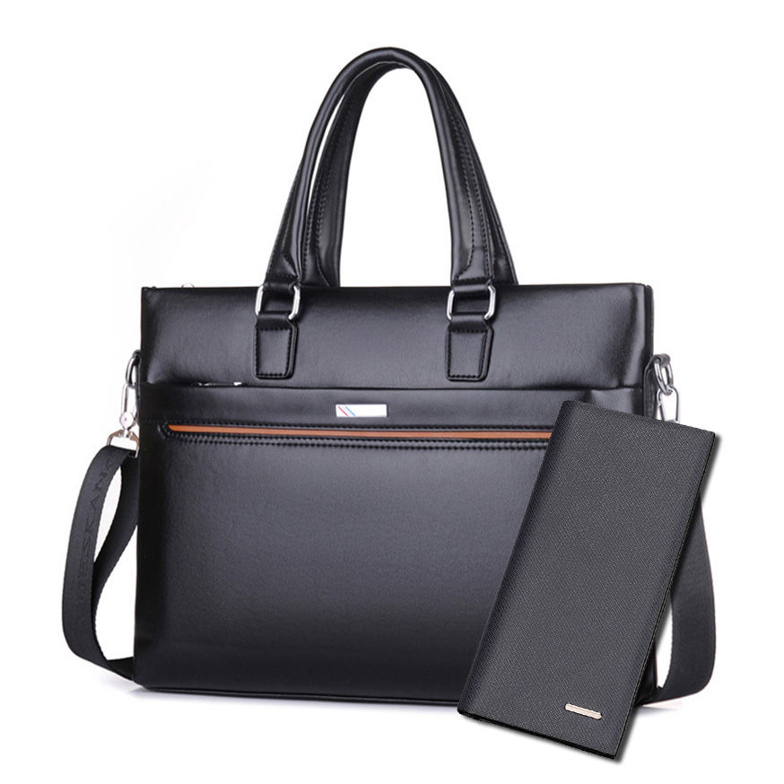 Trendy Mens Business Pu Leather Briefcase Lock Shoulder Bag Classic Bolsos Case Messenger Shoulder Attache Portfolios Tote