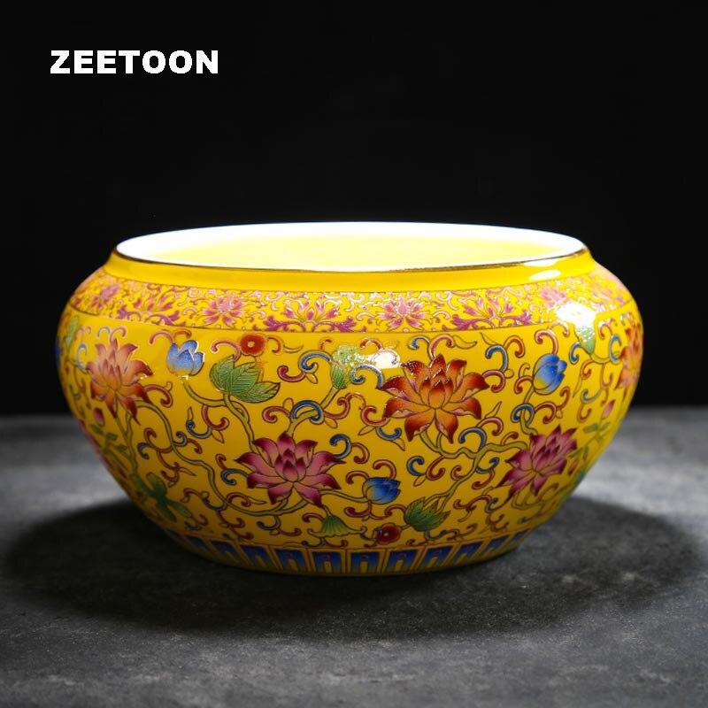 Китайский Дворцовый стиль Qianlong винтажный цветной эмалированный фарфор чайная чашка для мытья чая чаша Cha Xi чайный набор Большая еда тарелка