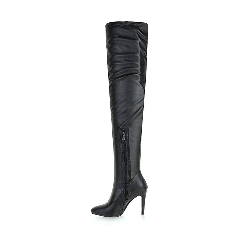 Chaussures Cuir Chaud Femme Kcenid Noir Hauts Bottes En Dames Pu Éclair Sur Taille 33 Noir D'hiver Genou Talons D'équitation blanc Partie Fermeture Le De 48 Grande yYfb7g6