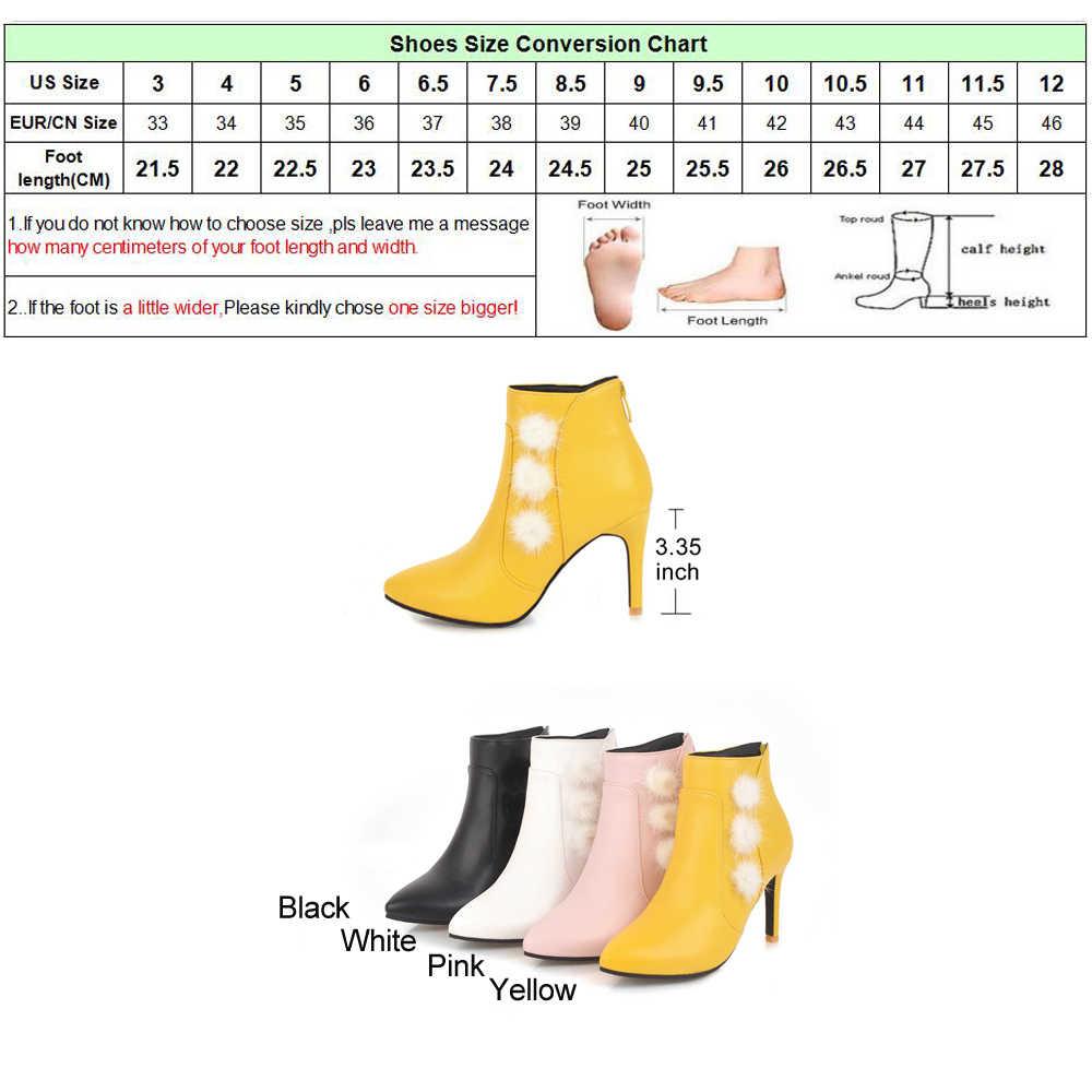 Meotina yarım çizmeler Ince Topuklu Çizmeler Kış Gerçek Tavşan Kürk Botları Kadın Fermuar Seksi Bayan Sonbahar Kısa Ayakkabı Siyah Beyaz Büyük 46