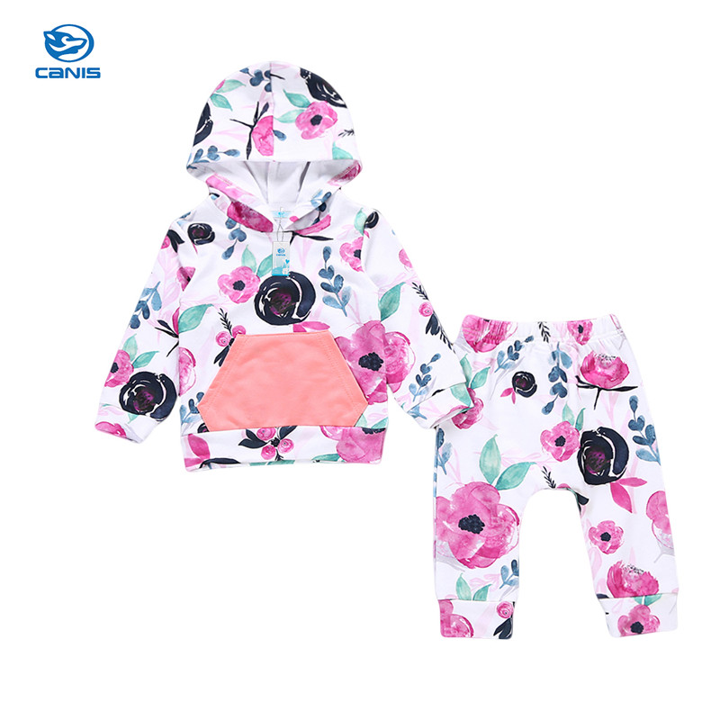 Toddler Newborn Baby Girl Long Sleeve Floral Hooded Tops Pants Home Casual Outfits 2PCS Autumn Set Clothes 0-24M