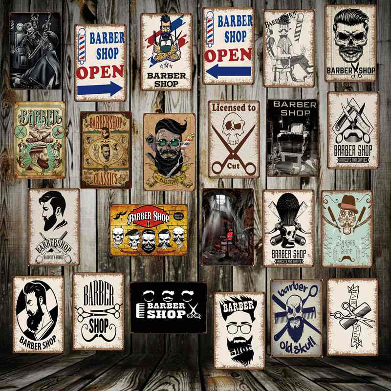 [ WellCraft ] Barber shops Metal Signs Wall Poster Plaque Wholesale Custom Funny IRON Painting Antique bar Store Decor FG-5123 ヒステリック ミニ 高 画質
