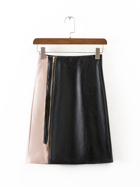 pretty cool beautiful and charming rational construction US $13.01 7% OFF|Women Fashion faux leather contrast color A line skirt  zipper black pink patchwork high waist slim quality skirts for Feminina-in  ...