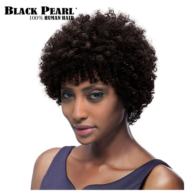 Black Pearl Short Curly Wigs For Black Women Remy Hair Short Pixie