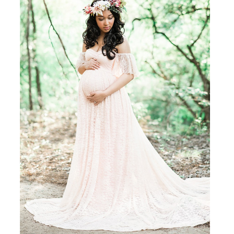 все цены на Comfortable Lace Maternity Dresses Fly Sleeve Tube Top Mop Short-sleeved Dress Maternity Photography Props Pregnancy Dress