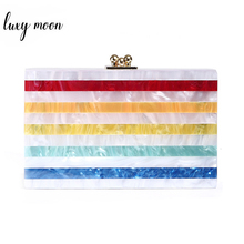 Multicolor Stripe Patchwork Clutch Bag Luxury Designer Acrylic Bag Purse New Exquisite Wome