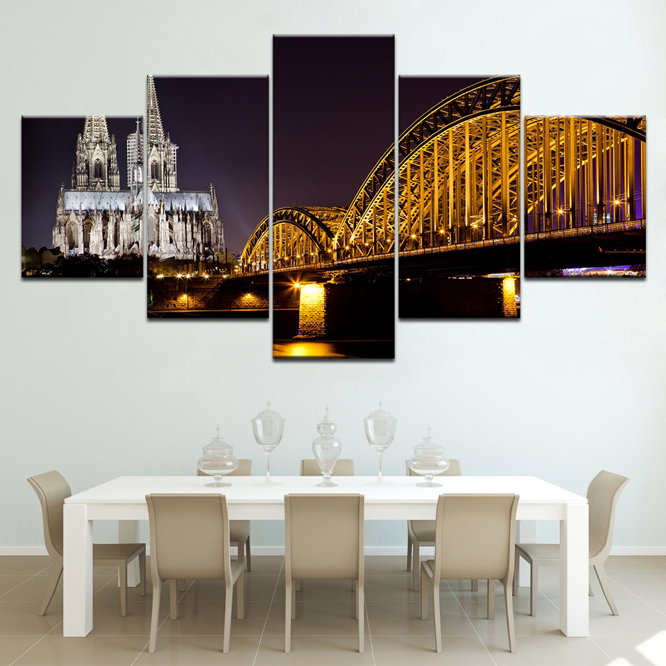 Canvas Paintings Wall Art Home Decor Frame 5 Pieces Cologne Cathedral Hohenzollern Bridge Landscape Poster City Lights Pictures