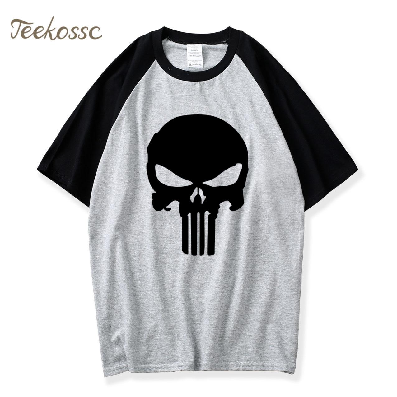 Hip Hop Streetwear  Skull T Shirt Summer Raglan Tshirt Men Cotton Brand Casual Short Sleeves Punisher T-shirt Male
