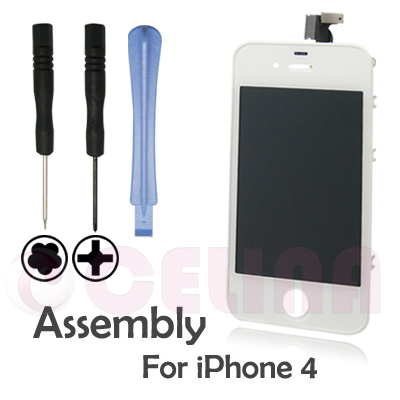 Touch Screen LCD Digitizer diplay Assembly Replacement For iPhone 4G GSM , white ,w/Frame,free shipping + tracking