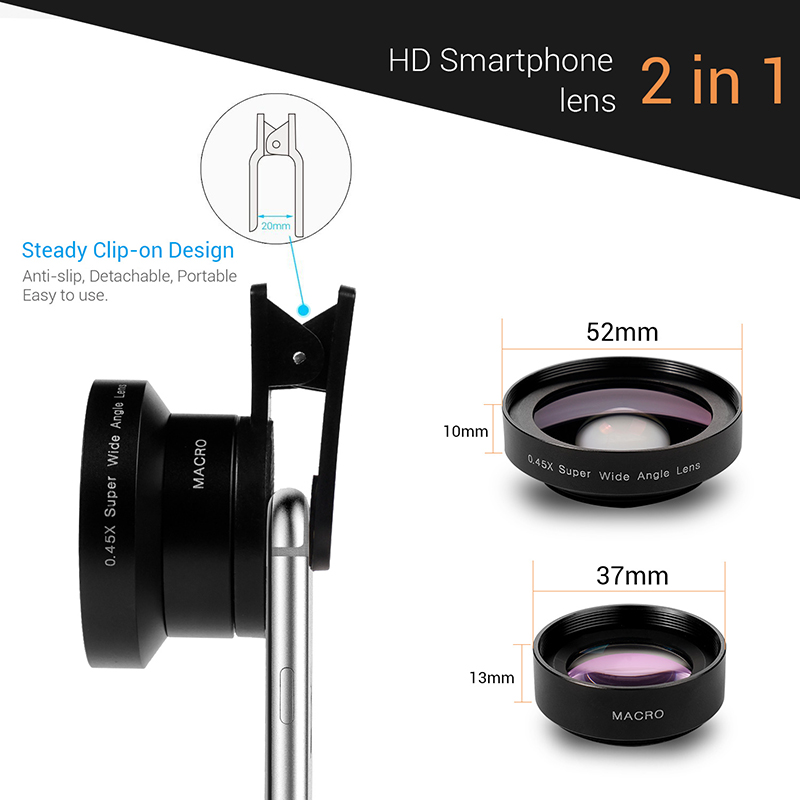 TURATA 2 in 1 HD Phone Len 52mm Calibre 37mm Kit Super 0.45X Wide Angle+15X Macro Clip-on Phone Camera Lens for Smartphone 8