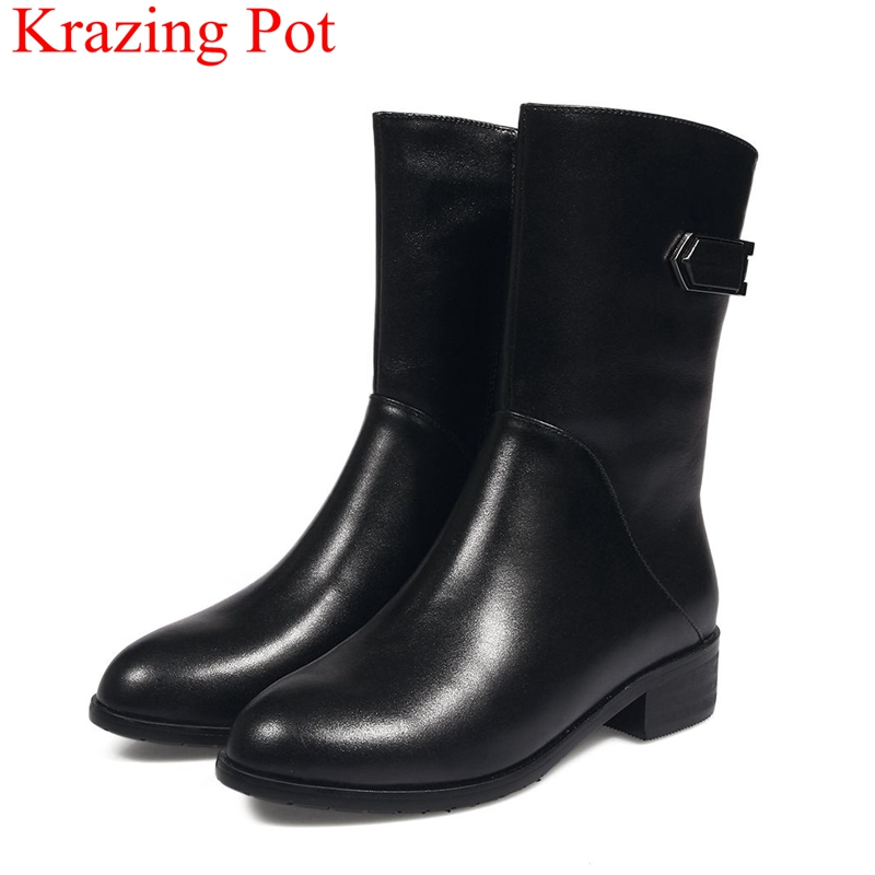 2018 new arrival cow leather winter shoes zipper women mid-calf boots solid concise party motorcycle boots round toe shoes L22 concise solid color and suede design women s mid calf boots