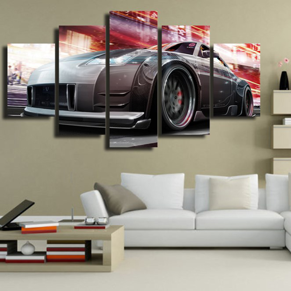 Embelish 5 Panels Modern Wall Art Pictures For Living Room Sports Car HD Print Canvas Painting Home Decor Modular Posters Framed