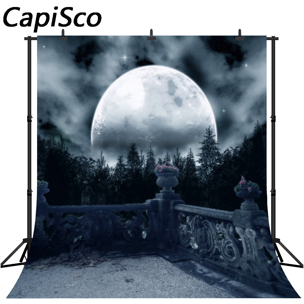 Capisco Vinyl Photography Backgrounds Dark Horror Night Full Moon Trees Gloomy Balcony View Halloween Theme Photo Backdrop image