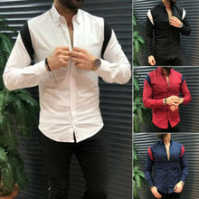 Men Slim Fit  Long Sleeve Shirt Summer Cool Fashion Casual V-Neck Tops S-XL