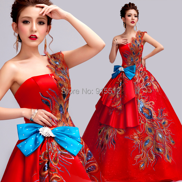 New Arrival Traditional One Shoulder Phoenix Patterns Ball Gown Red ...
