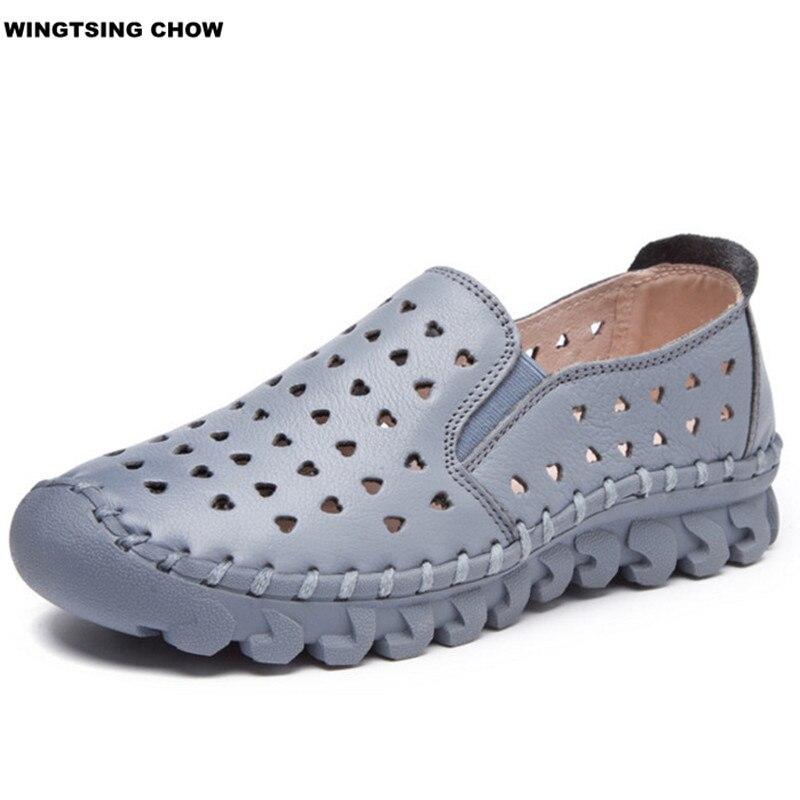 8 Цветов Летняя Обувь Женщины Кожа Плоские Комфорт Дышащий Женщины Мокасины Мокасины Мода Обувь Ручной Работы Женские Воздуха