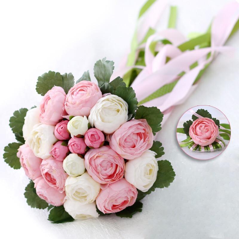 Romantisk Bröllopsbukett Med Ribbon Konstgjord Peony Rosa Grön - Bröllopstillbehör