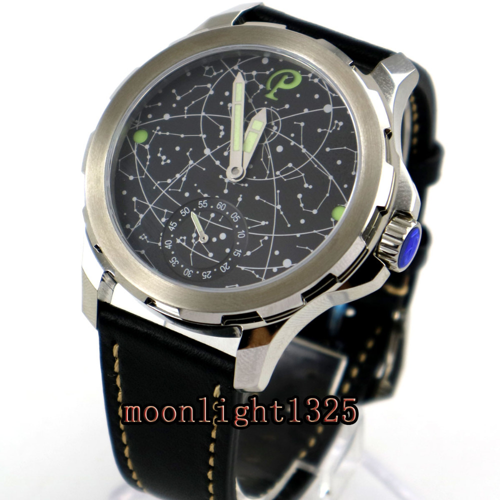 2017 new arrive 44mm mens parnis constellation steel Case Leather Sapphire glass Luminous 6498 hand Winding uhr Watch-in Mechanical Watches from Watches    2
