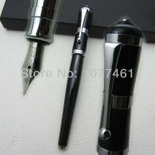 Fuliwen Fountain Pen Black and Silver Clip Color Greta Garbo Style Fine Nib with gift box F1007