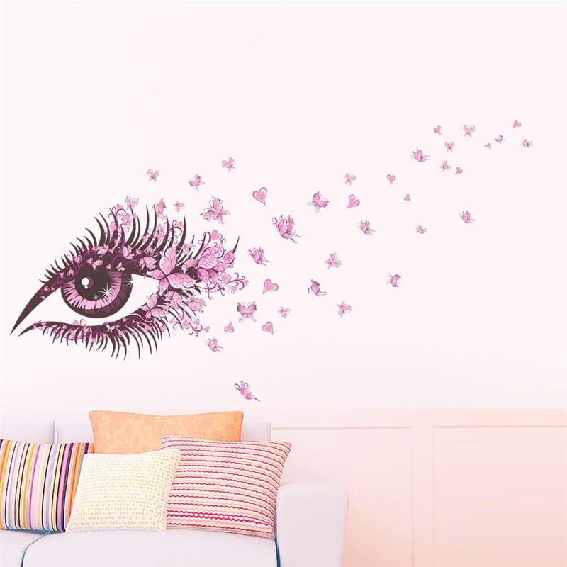 Charming Fairy Girl Eye Wall Sticker For Kids Rooms Flower butterfly LOVE heart Wall