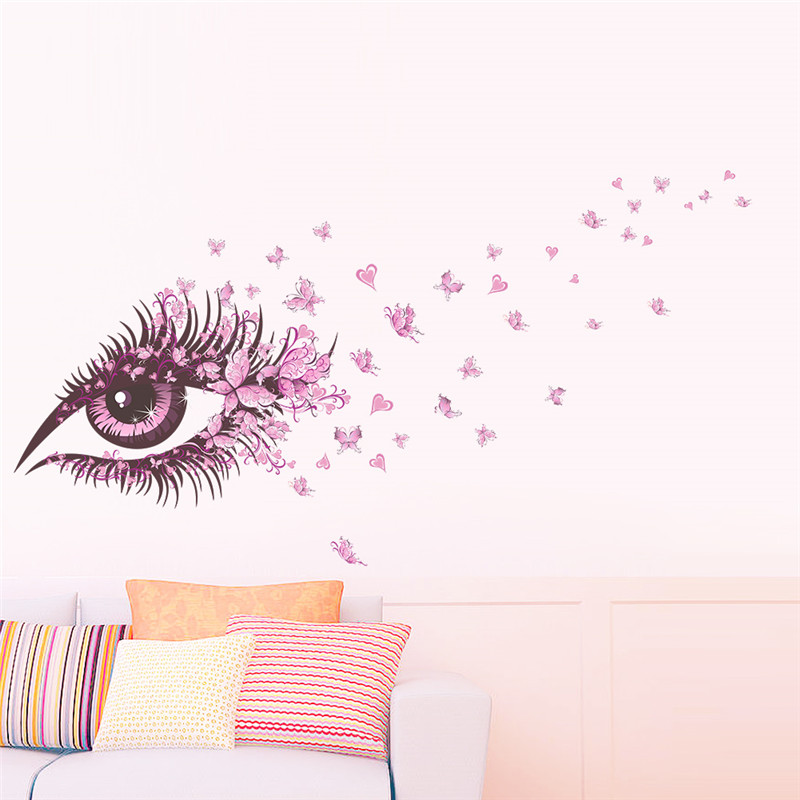 Sjarmerende Fairy Girl Eye Wall Sticker For Kids Rom Flower Butterfly LOVE heart Wall Decal Soverom Sofa Decoration Wall Art