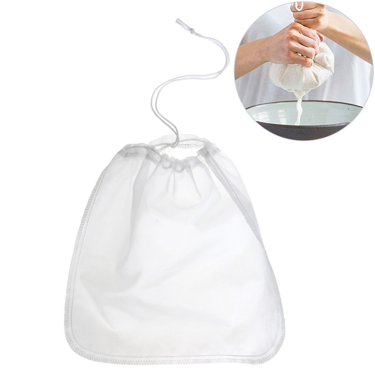 Nut Milk Bag Reusable Almond Milk Bags Food Grade Fine Nylon Mesh Food Strainer & Cheese Maker Coffee & Tea Filter