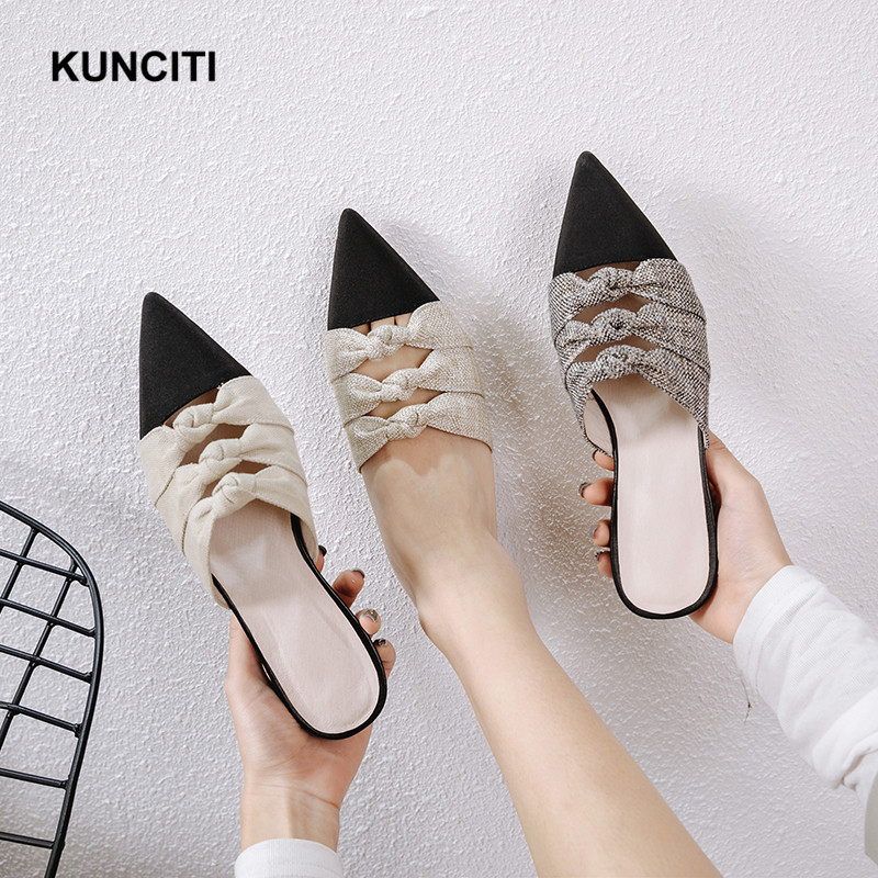 Summer Slippers Women 2019 Pointed Toe Bowknot Flat Slides Women Patchwork Ladies Mules Shoes Cutout Fashion