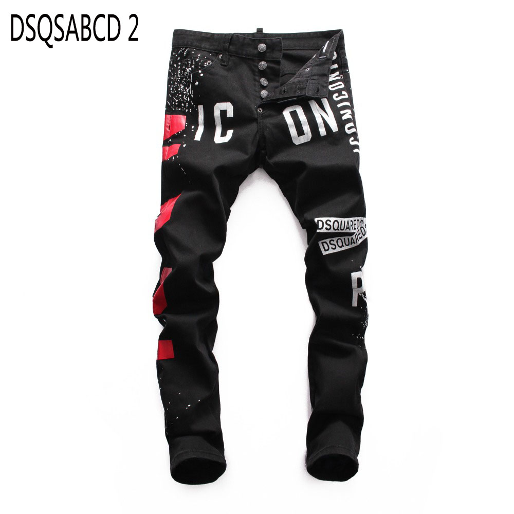 European Nightclub style famous brand   jeans   luxury Men denim trousers Patchwork Slim black letter   jeans   Pencil Pants for men