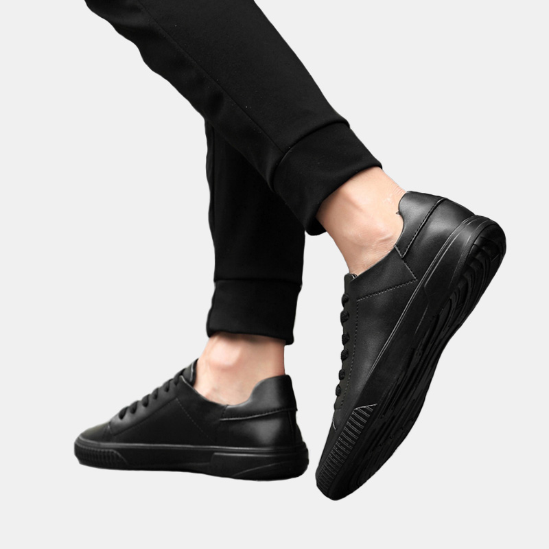 fashion sneakers men genuine cow leather laced up black flat super soft light breathable jogging casual shoes for young male in Men 39 s Casual Shoes from Shoes