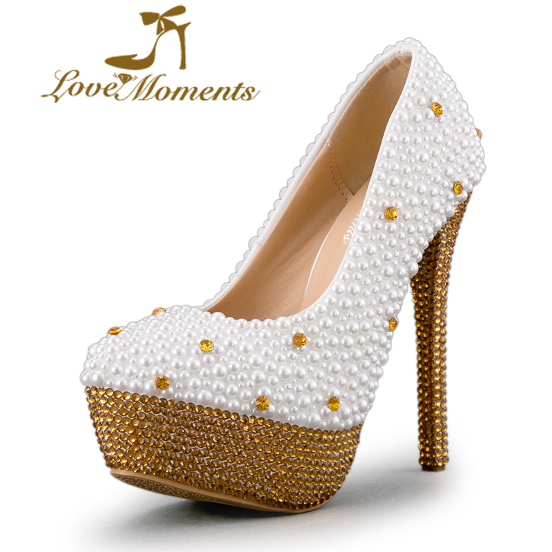 Customized White Pearl with Gold Rhinestone Wedding Shoes 14cm Super High Heel Bride Dress Shoes Stiletto Heel Bride Mom Pumps pure white pearl wedding dress shoes gorgeous red rhinestone heart shape women pumps 3 inches high heel bride shoes event pumps