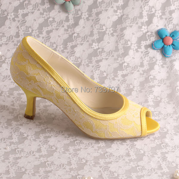 Elegant Yellow Lace And Satin Medium Heels Bridal Shoes Wedding Women Dress  Pumps