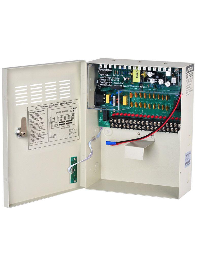 UPS CCTV Power Supply Distribution Box Uninterruptable DC 12V 10A 18Channel