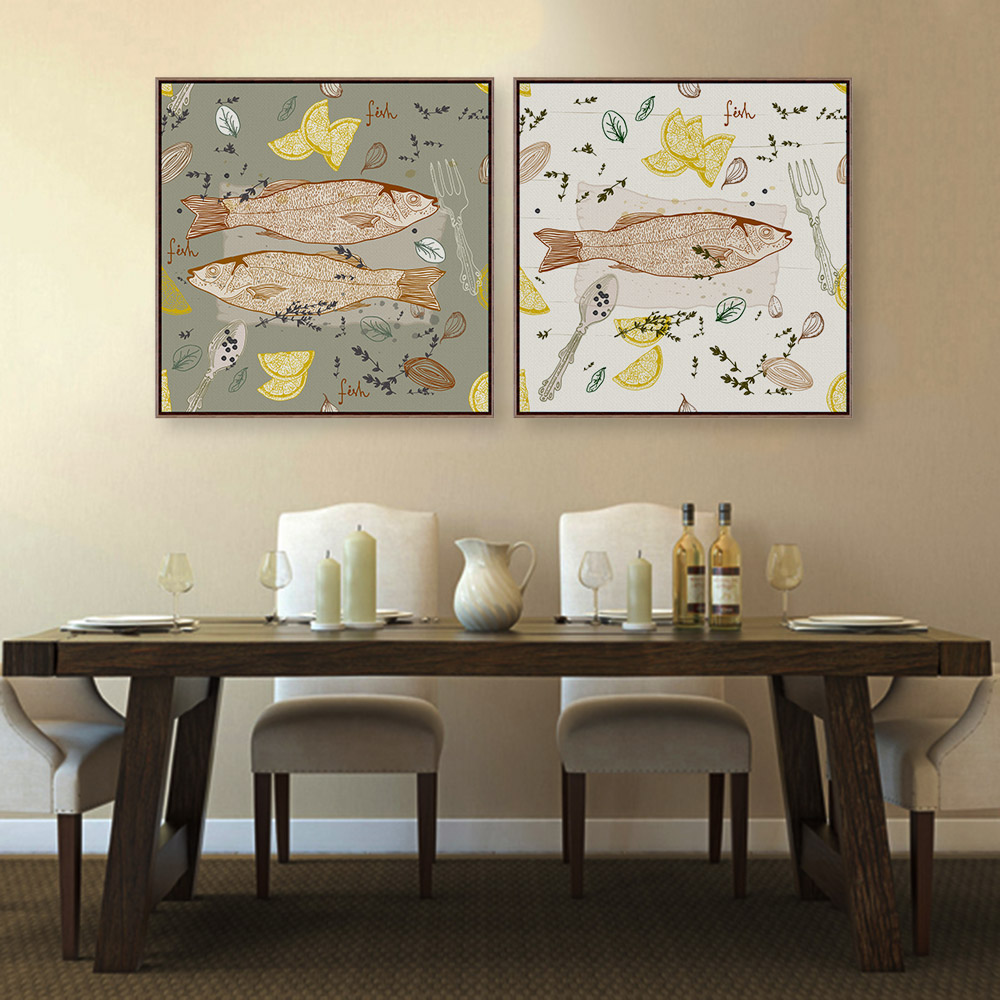 Retro Kitchen Wall Decor: Modern Fish Dish Poster Print Animal Picture Vintage Retro Japanese Kitchen Home Restaurant Wall