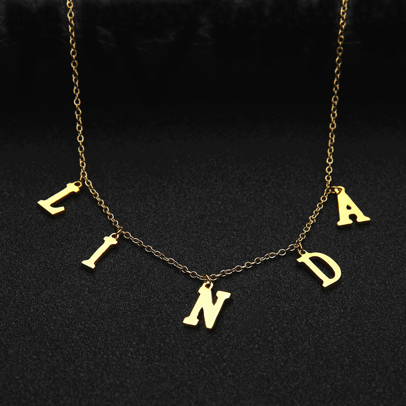 Sideways Initial Necklace Personalized Letter Necklace