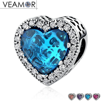 VEAMOR 100 925 Sterling Silver Jewelry Radiant Hearts Charms Beads Fit Pandora Bracelets 4 Colors CZ