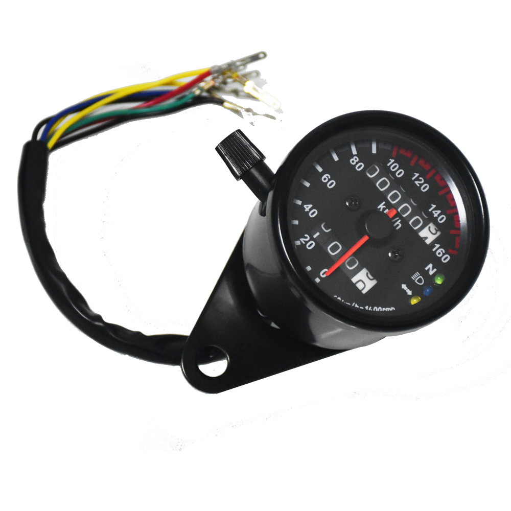 Universele Motorcycle Snelheidsmeter Kilometerteller Gauge ATV Fiets Scooter Backlit Dual Speed ​​meter met LED Indicator DC 12 V 0 ~ 160 km / h